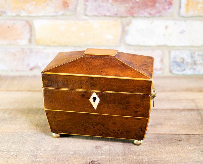 Burr Yew Tea Caddy c.1820 SOLD