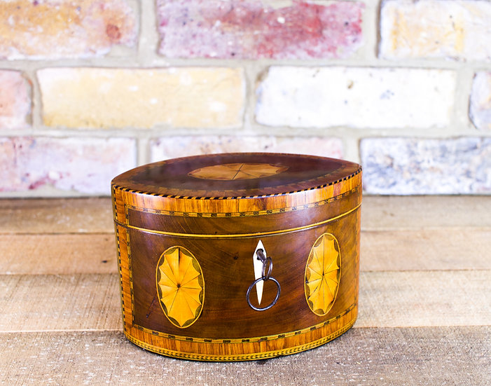 Rare Oval Mahogany Inlaid Georgian Tea Caddy c.1790 SOLD