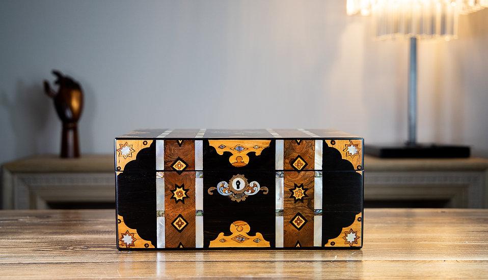 Stunning Inlaid Victorian Jewellery Box 1850 SOLD
