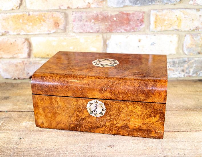 Burr Walnut Jewellery Box 1880 SOLD