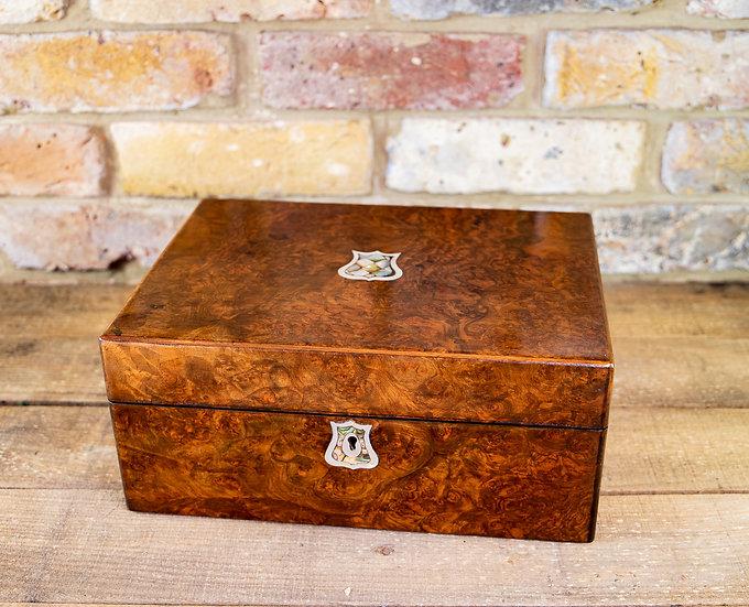 Burr Walnut Table Box 1870 SOLD