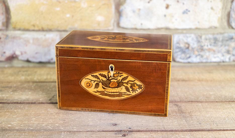Mahogany Georgian Twin Lid Tea Caddy 1800 SOLD