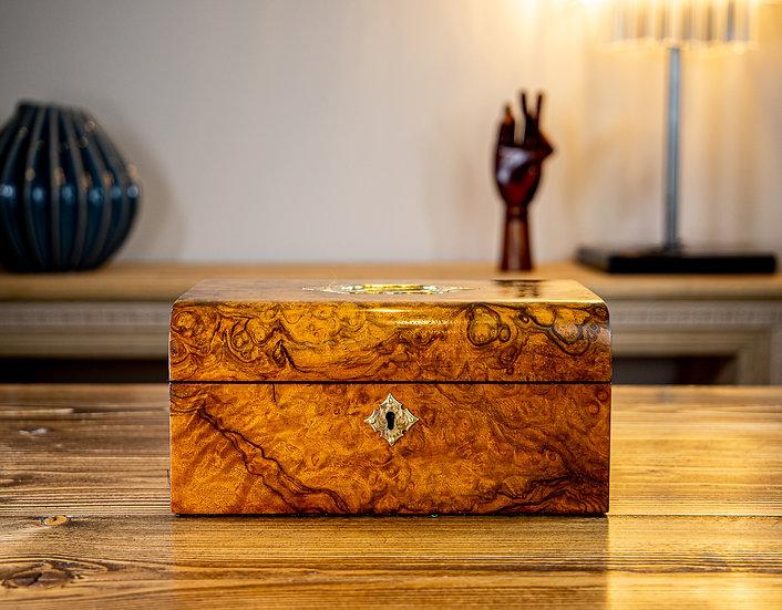 Burr Walnut Domed Top Jewellery Box 1890 SOLD