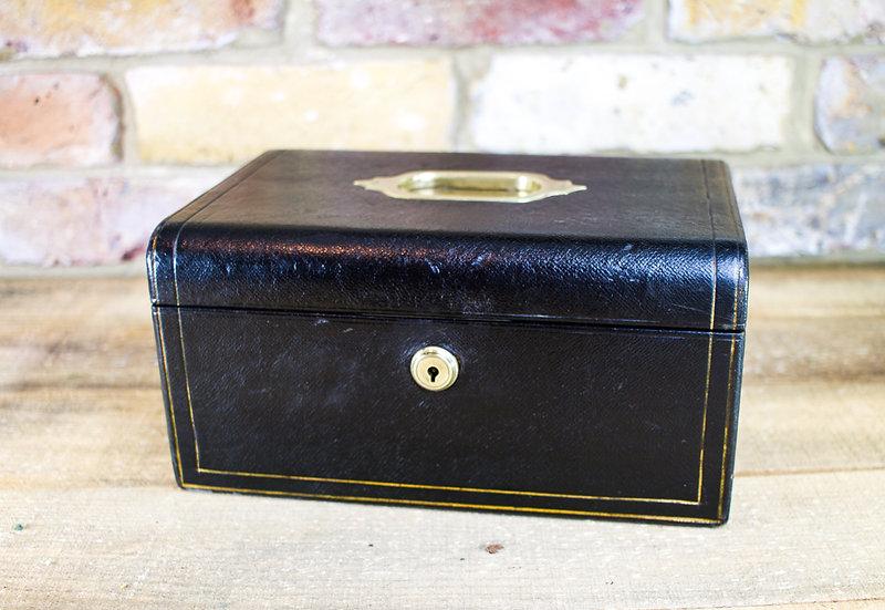 Black Leather Jewellery Box c.1910