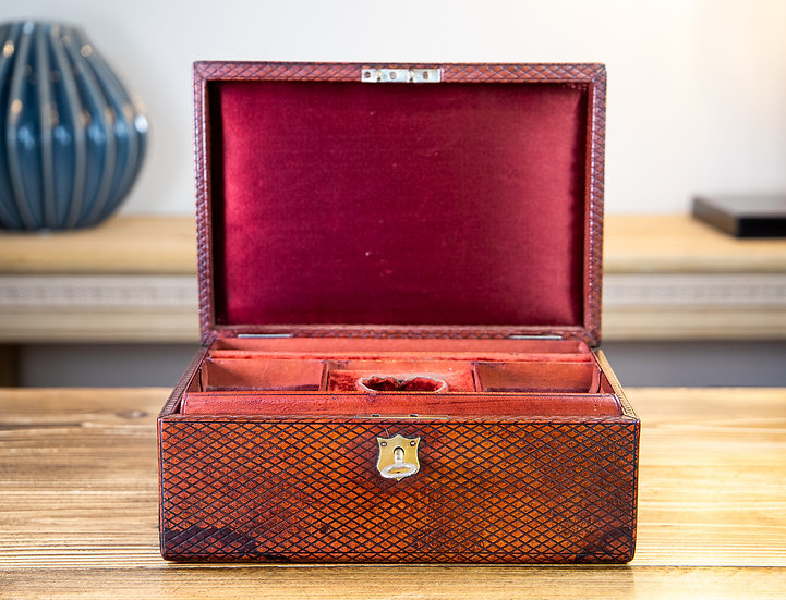 Victorian Red Leather Jewellery Box 1890