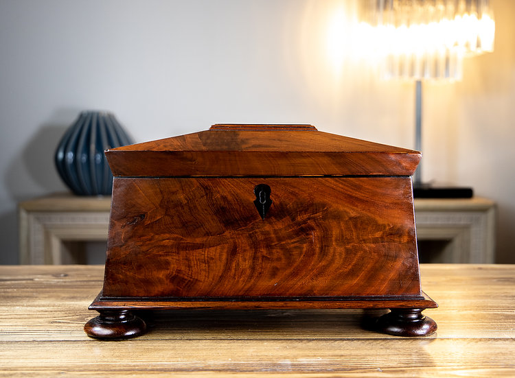Large Flamed Mahogany Georgian Tea Caddy 1820