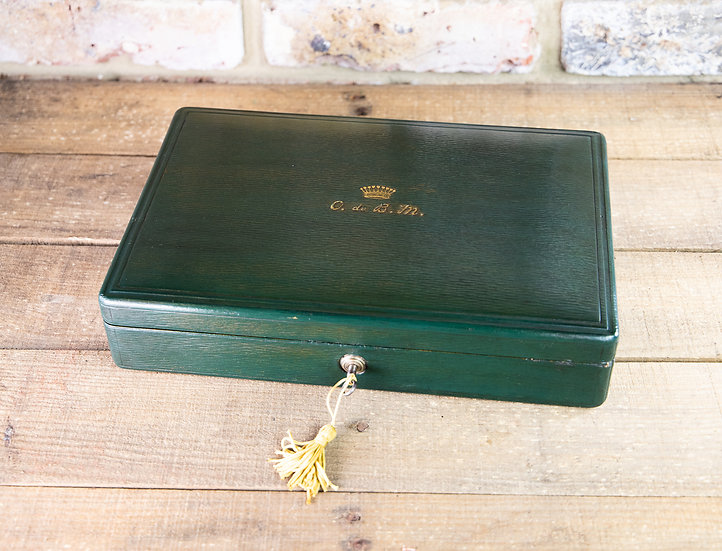 Green Leather Jewellery Box 1920's