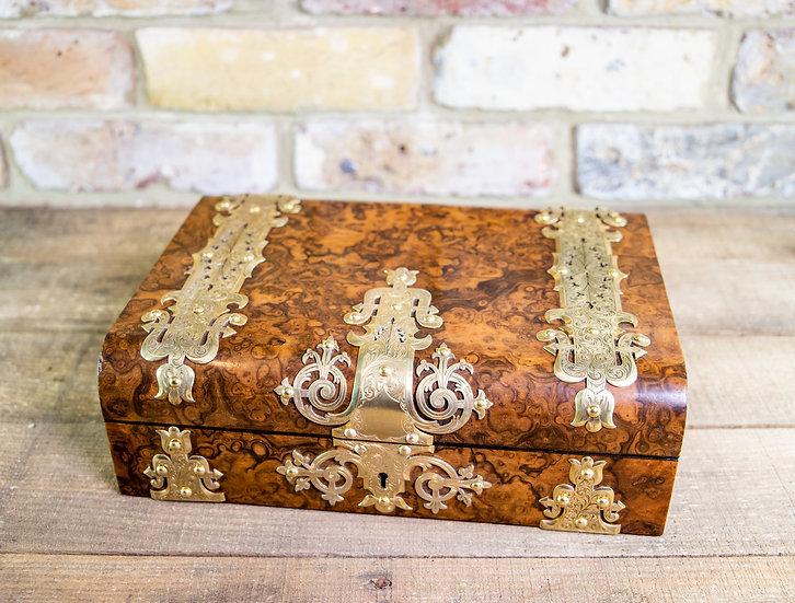 Burr Walnut Jewellery Box c.1870 SOLD