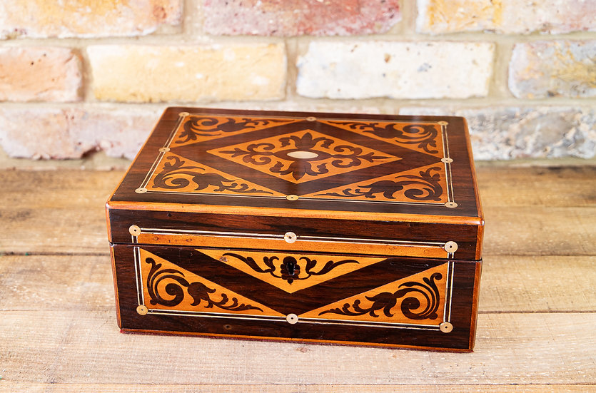 Pewter Inlaid Decorative Table Box 1860 SOLD