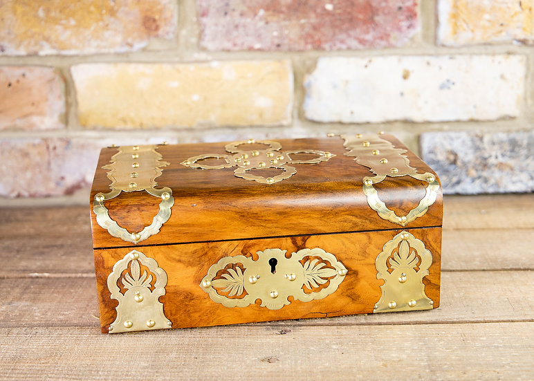 Walnut & Brass Jewellery Box 1880 SOLD