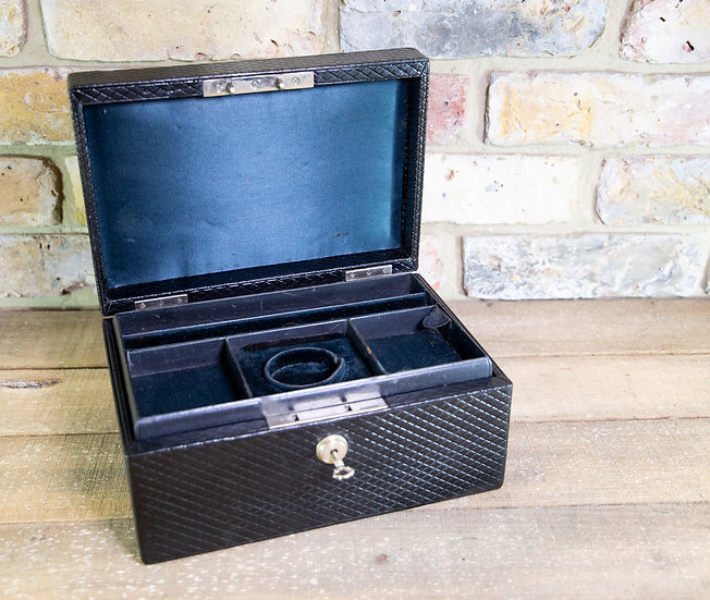 Black Leather Jewellery Box c.1920 SOLD