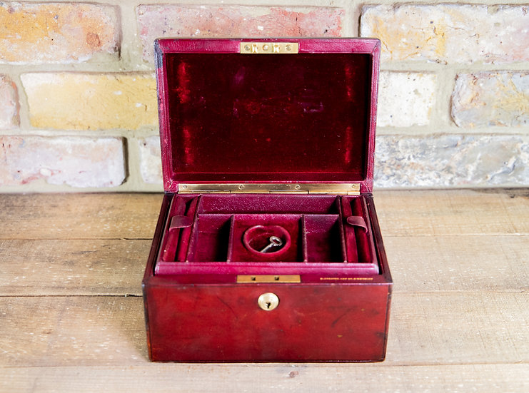 Red Leather Jewellery Box c.1920 SOLD