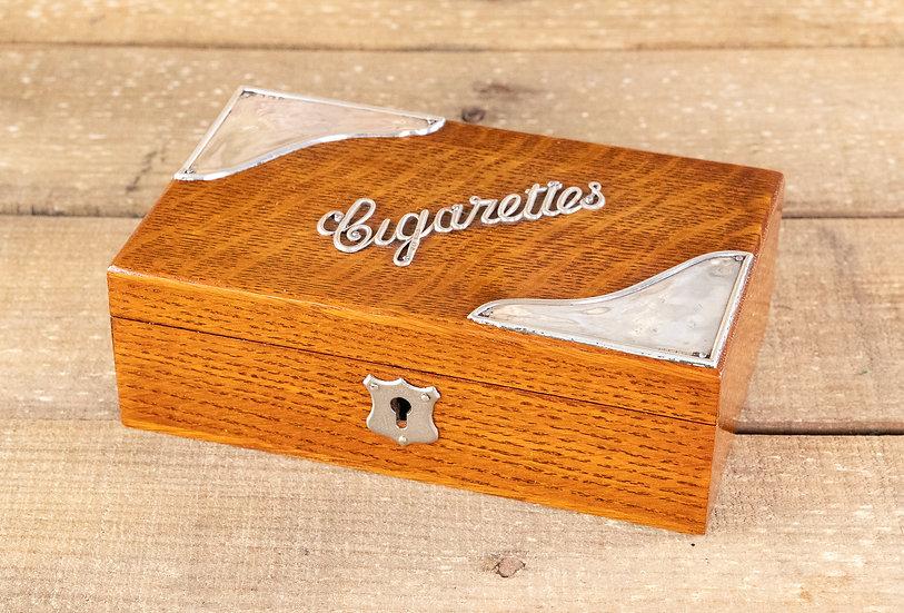 Silver Hallmarked Oak Cigarette Box 1920