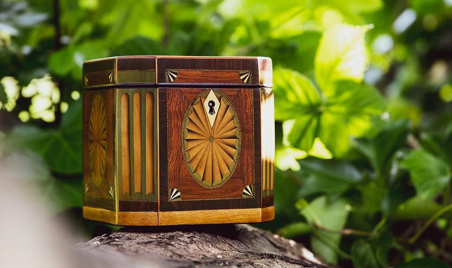 Rare Stunning Octagonal Georgian inlaid Tea Caddy c.1780 SOLD