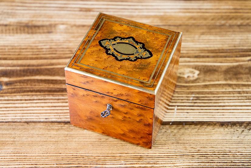 Single Amboyna French Tea Caddy 1880