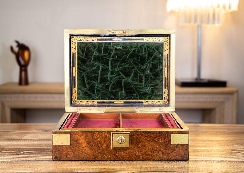 Burr Walnut Georgian Jewellery Box 1800 SOLD