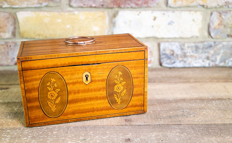 Twin Satinwood Tea Caddy c.1820 SOLD