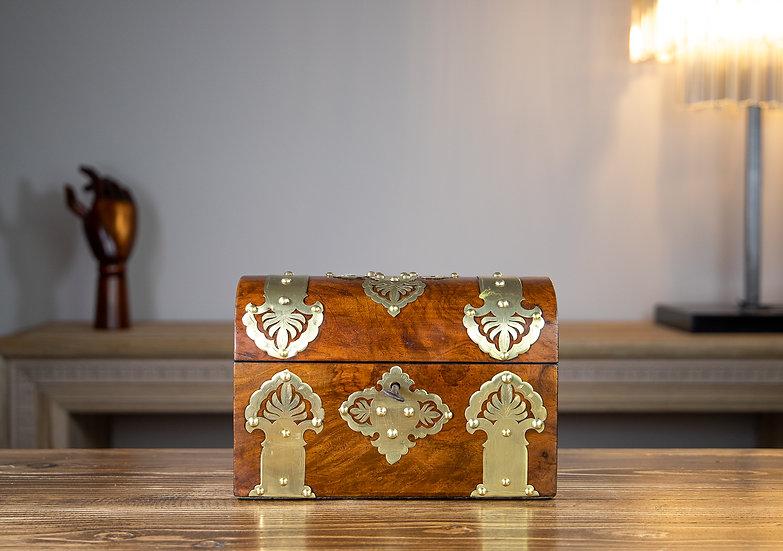 Figured Walnut & Brass Tea Caddy 1880 SOLD