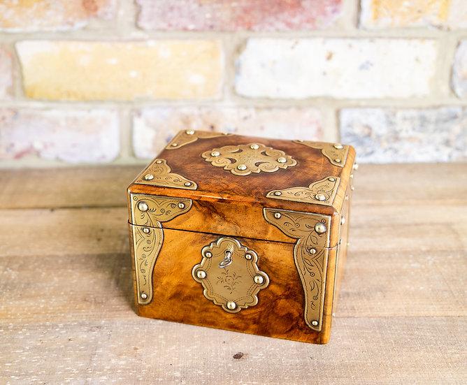 Burr Walnut Tea Caddy 1870 SOLD