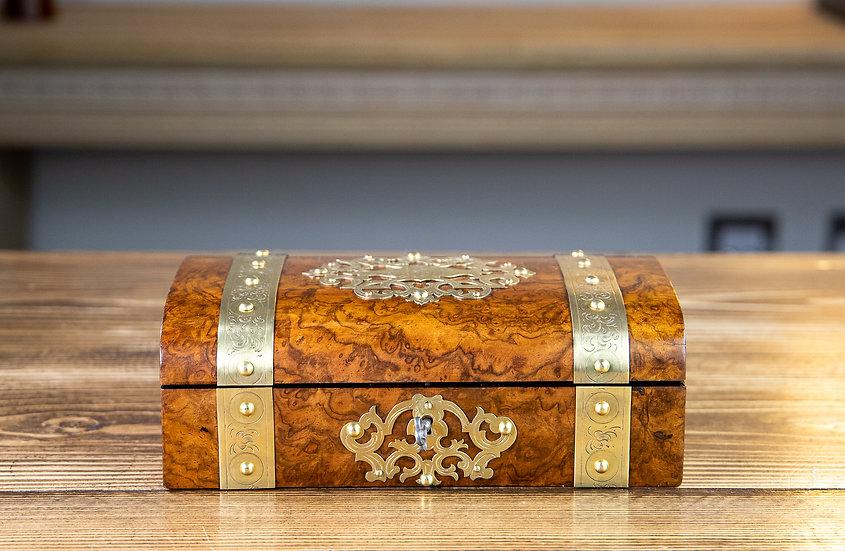 Stunning Brass Bound Burr Walnut Jewellery Box 1880 SOLD
