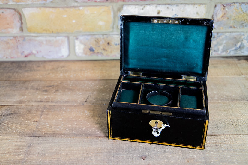 Black Leather Jewellery Box c.1920 SOLD