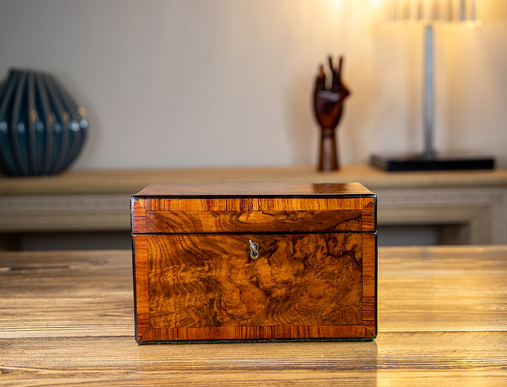 Twin Burr Walnut Tea Caddy 1870 SOLD