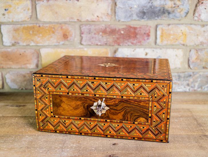 Burr Walnut & Tunbridge Ware Table Box 1880 SOLD