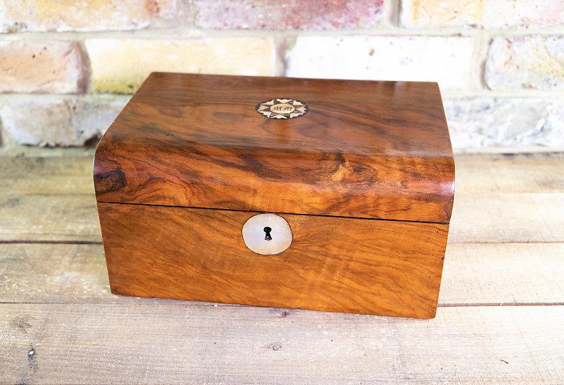 Figured Walnut Sewing Box 1880 SOLD
