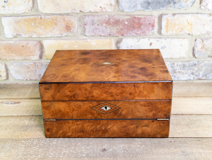 Burr Walnut Ladies Box c.1880 SOLD