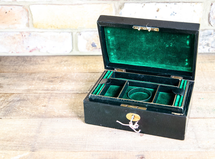 Green Leather Jewellery Box - Makers Label SOLD