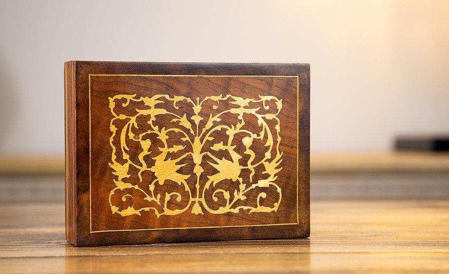 Olive Wood Inlaid Card Box 1920