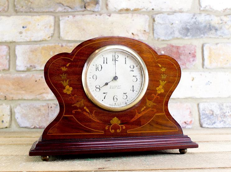 Mahogany Floral mantlepiece clock c.1900 SOLD