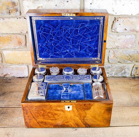 Beautiful Burr Walnut Vanity Box 1880