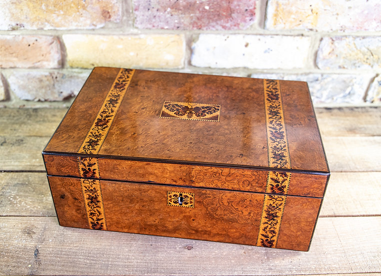 Butterfly Inlaid Tunbridge Ware Writing Slope 1890 SOLD