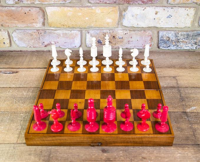 Bone Chess set & Board c.1900 SOLD