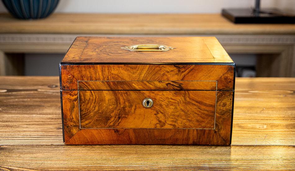 Burr Walnut Work Box Victorian 1870 RESERVED