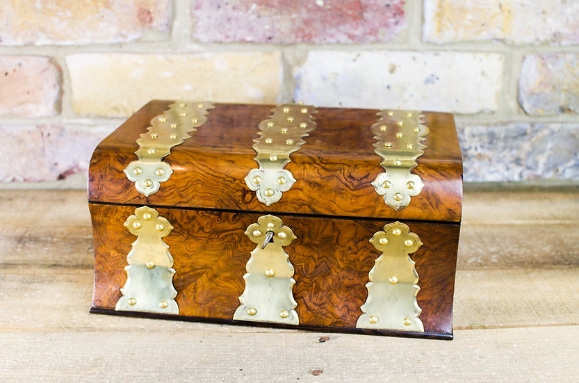 Burr Walnut Brass bound work box c.1860 SOLD