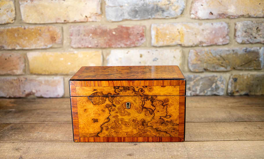Burr Walnut Twin Tea Caddy 1870 SOLD