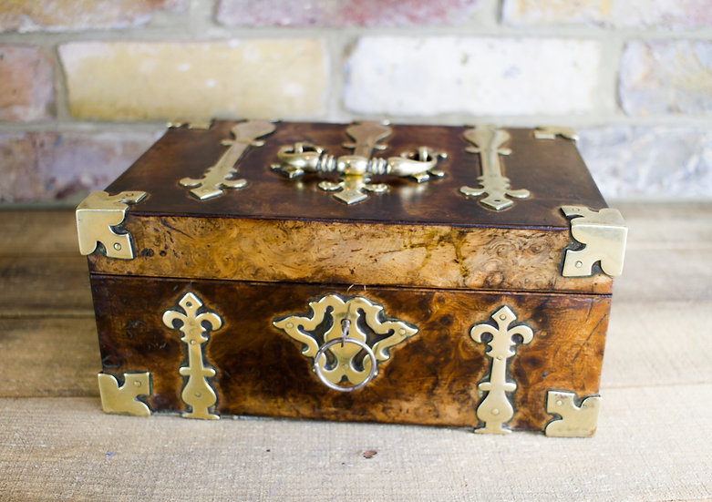 Heavy Brass Burr Walnut Gent's Box c.1840 SOLD