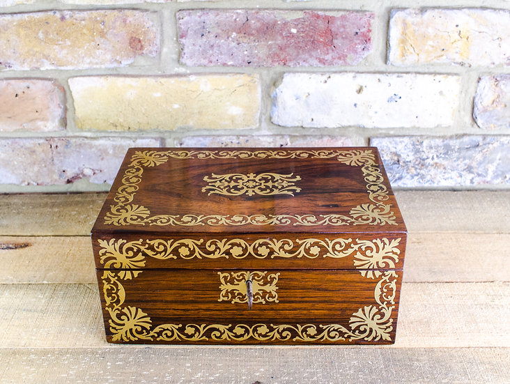 Rosewood with Brass Inlay Jewellery Box c.1820 SOLD
