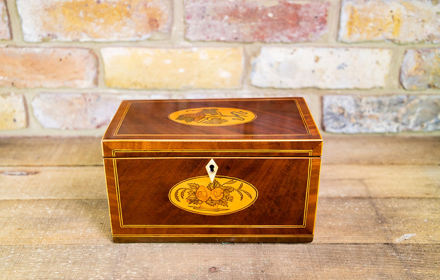 Mahogany Triple lid Tea Caddy c.1790 SOLD