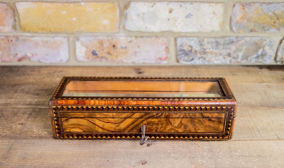 Burr Walnut Glass Top Display Box c.1880 SOLD