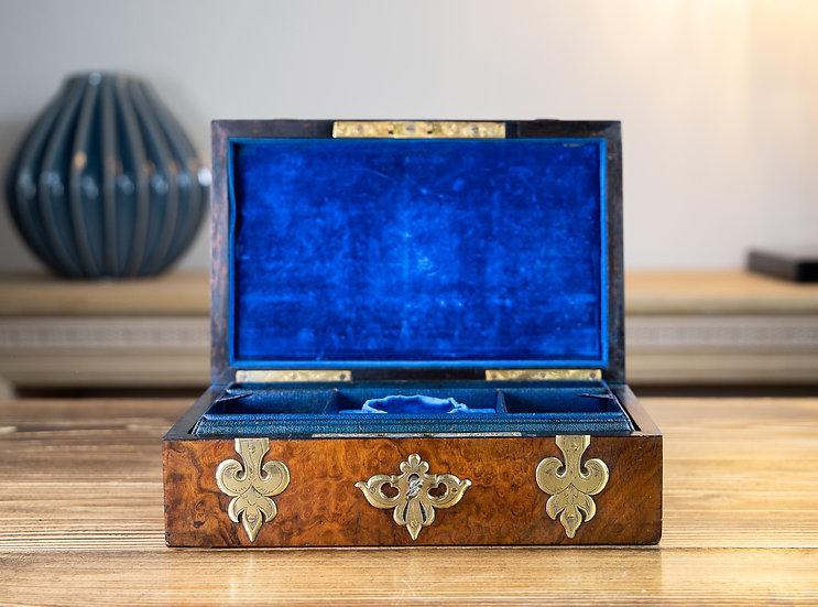 Burr Walnut & Brass Jewellery Box 1860 SOLD