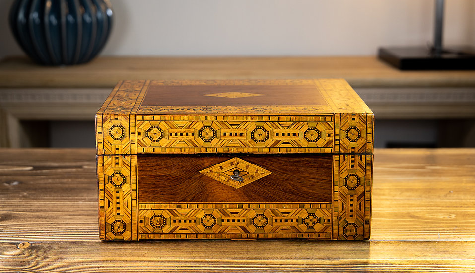 Figured Walnut Tunbridge Ware Box 1880 SOLD