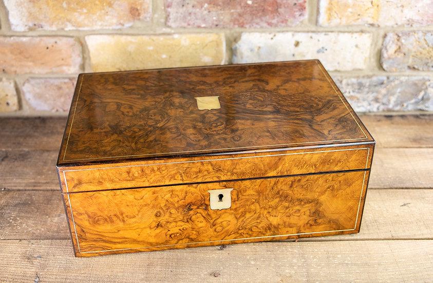 Superb Burr Walnut Writing Slope 1860 SOLD
