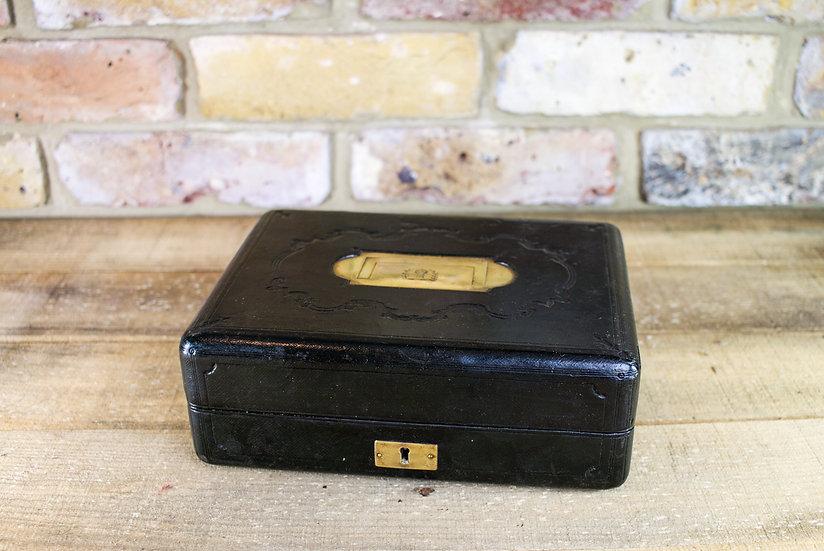 Black Leather Jewellery Box c.1920