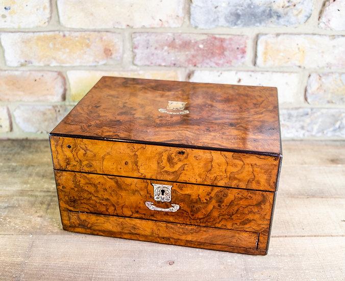 Burr Walnut Jewellery Box c.1860 SOLD
