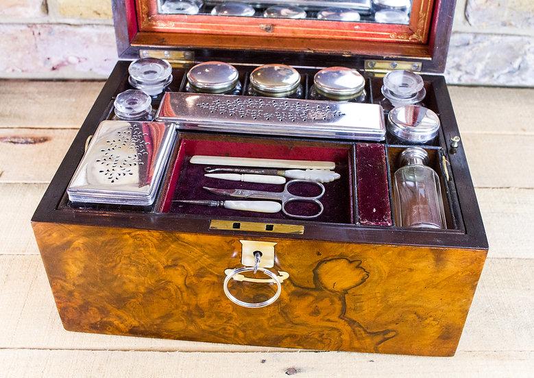 Burr Walnut Vanity box c.1860 SOLD