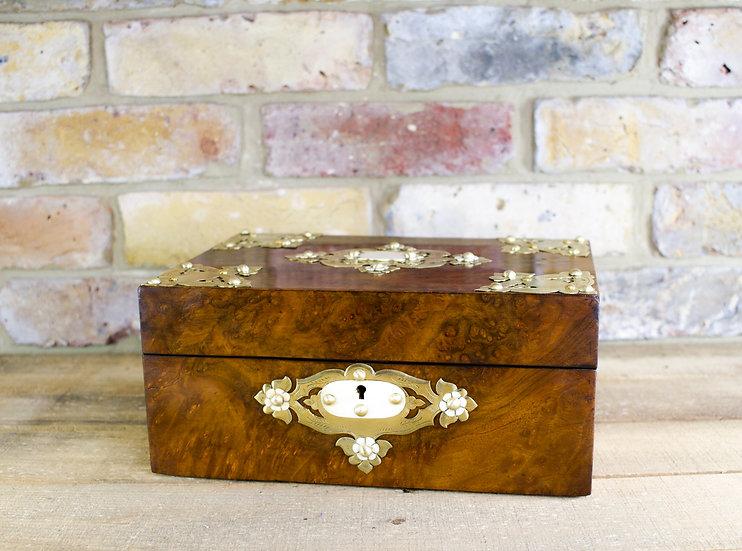 Burr Walnut and Brass Ladies Box c.1870 SOLD