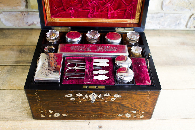 Rosewood Silver plate Vanity Box c.1840 SOLD